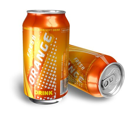 Orange soda drinks in metal cans *** DESIGN IS MY OWN, ALL TEXT LABELS ARE ABSTRACT photo
