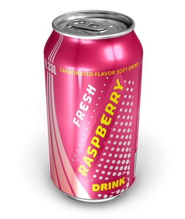 Raspberry soda drink in metal can *** DESIGN IS MY OWN, ALL TEXT LABELS ARE ABSTRACT Stock Photo - 9371947