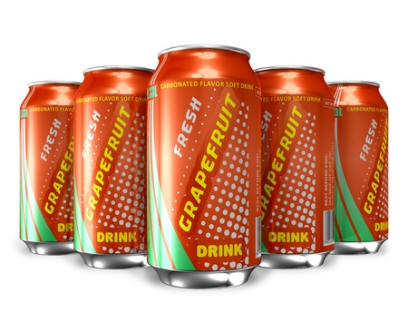Set of grapefruit soda drinks in metal cans *** DESIGN IS MY OWN, ALL TEXT LABELS ARE ABSTRACT photo