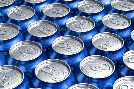 soda: Macro of metal cans with refreshing drinks