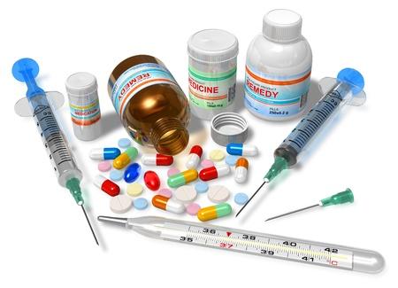 drogadiccion: Term�metro, drogas y jeringas aislado en blanco *** dise�o es mi propia, todo texto etiquetas son ABSTRACTAS
