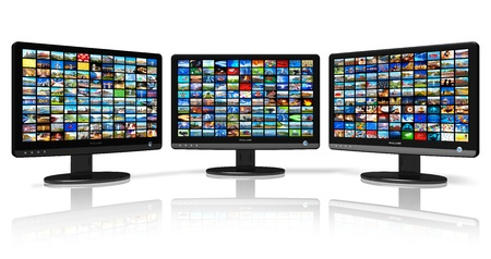 multi media: Multiple monitors with image gallery *** ALL PHOTOS USED HERE ARE MY OWN Stock Photo