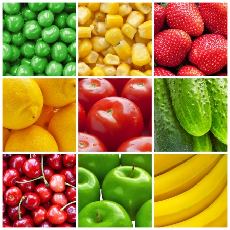 abstract fruit: Fresh fruits and vegetables collage Stock Photo