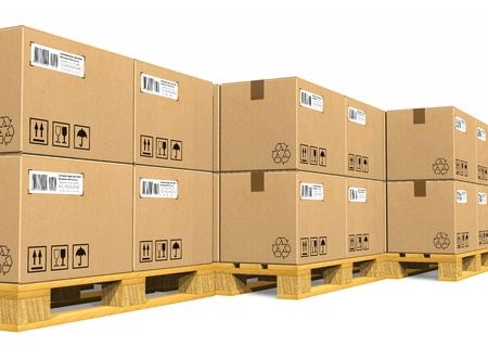 Stacks of cardboard boxes on shipping pallets photo