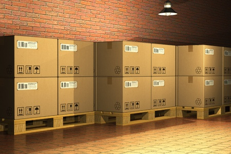 Cardboard boxes on shipping pallets in storage warehouse Stock Photo - 9438911