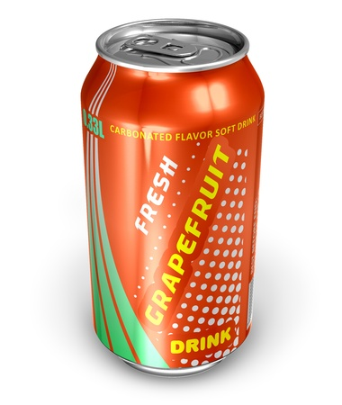 Grapefruit soda drink in metal can *** DESIGN IS MY OWN, ALL TEXT LABELS ARE ABSTRACT photo