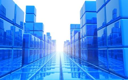 edificio industrial: Abstracto azul arquitect�nica