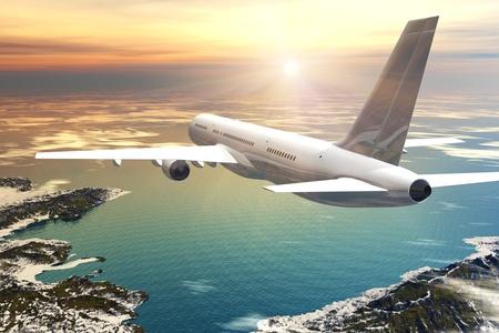 takeoff: Volo aereo di linea scenico tramonto