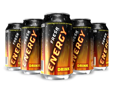 nonalcoholic: Energy drinks in metal cans  Stock Photo