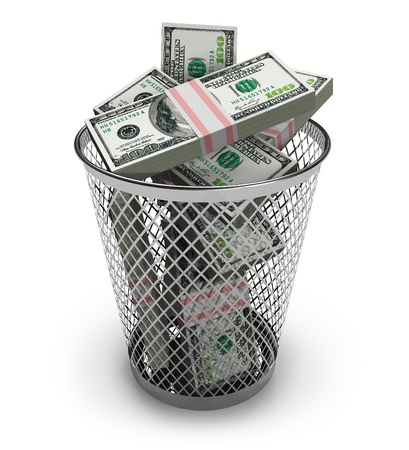 money risk: Dollars in the trash bin