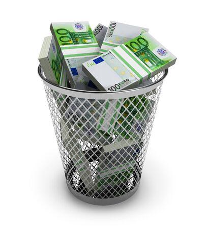Euro in the trash bin photo