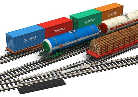 wood railroad: Miniature railroad models Stock Photo