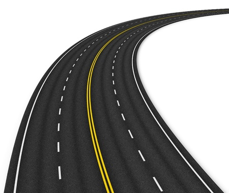 road: Autobahn isolated on white