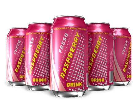 Set of raspberry soda drinks in metal cans *** DESIGN OF THESE DRINK CANS IS MY OWN, ALL TEXT LABELS ARE FULLY ABSTRACT Stock Photo - 9535625