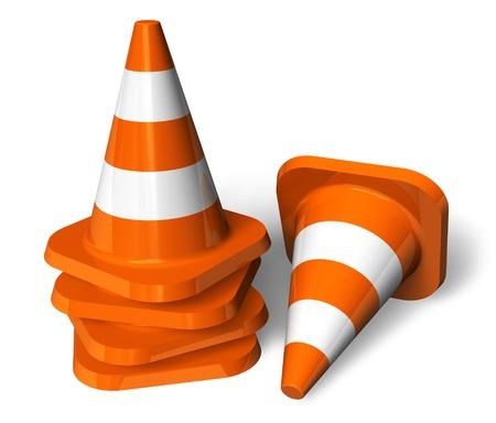 veiligheid bouw: Set van oranje verkeerskegels
