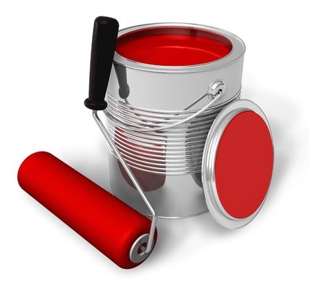 Peut avec la peinture rouge et brosse à rouleaux