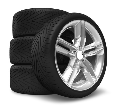 tyre tread: Car wheels set