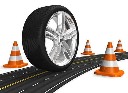Automotive concept: car wheel on the road Stock Photo - 9535597