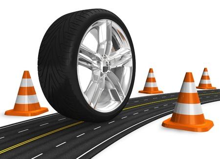 pisan: Concepto automotriz: rueda de coche en la carretera
