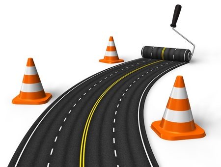 traffic cones: Painting the road with roller brush Stock Photo