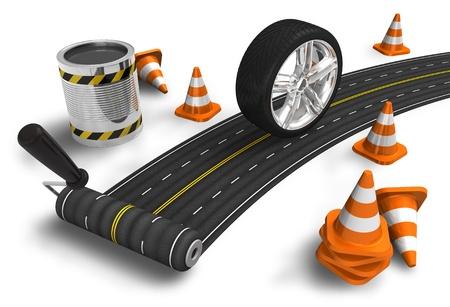 Road construction concept Stock Photo - 9535626