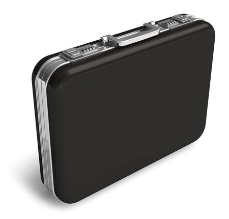 Black leather suitcase isolated on white background photo