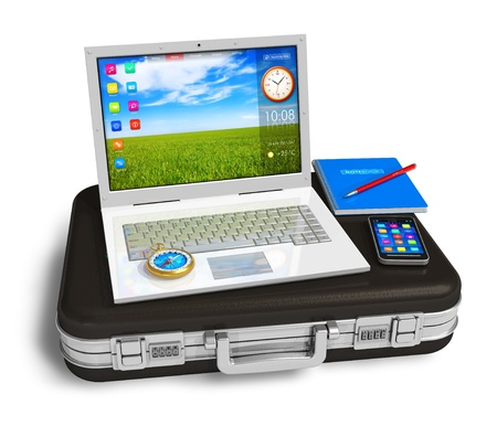 White laptop, smartphone and other business objects on black suitcase Stock Photo - 9597021