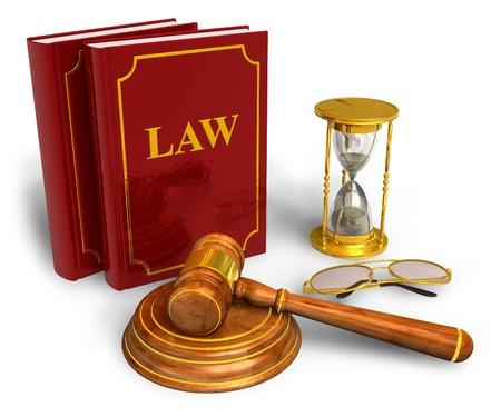 abogado: Mazo de madera, relojes de arena y c�digo de leyes aisladas sobre fondo blanco
