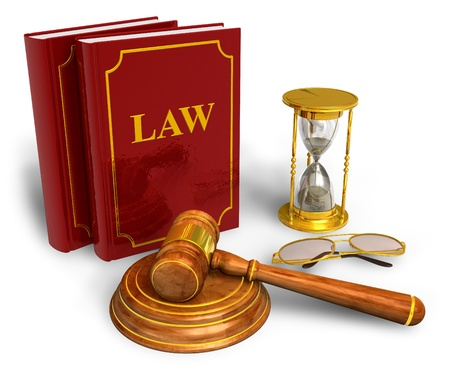 Wooden mallet, hourglasses and code of laws isolated on white background Stock Photo - 9597019