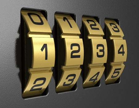 secret password: Close view of metal 4-digit combination lock
