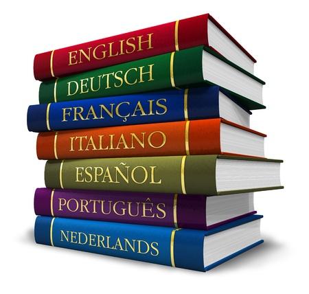 translate: Pila de diccionarios aisladas sobre fondo blanco Foto de archivo