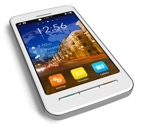 Stylish white touchscreen smartphone Stock Photo - 9597031
