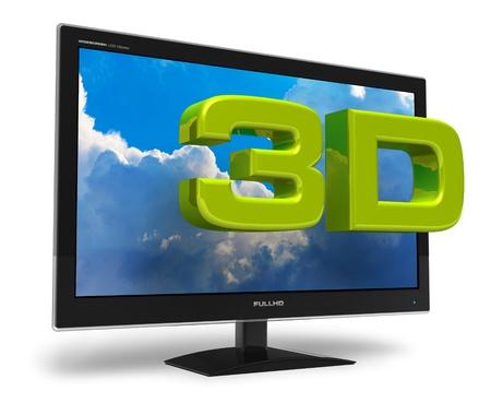 definici�n: Pantalla TFT de pantalla elegante negro con cielo azul y texto 3D detr�s aisladas sobre fondo blanco Foto de archivo
