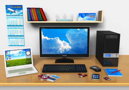 desktop computers: Office workplace with desktop computer, laptop, smartphone, compact digital camera, flash drive and other devices
