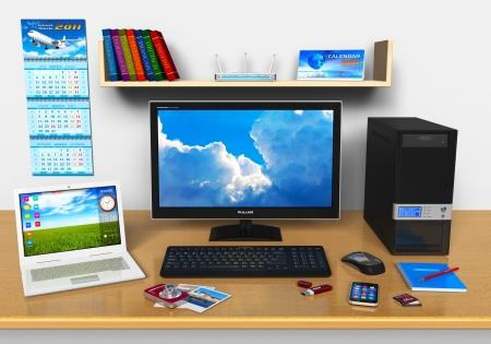 ordinateur bureau: Travail de bureau avec ordinateur de bureau, ordinateur portable, smartphone, appareil photo num�rique compact, le lecteur flash et autres dispositifs