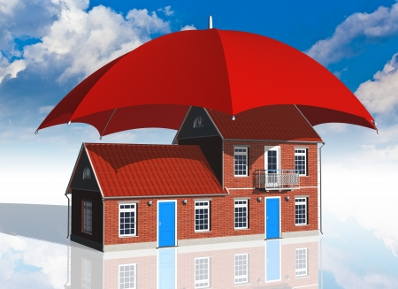 protect home: residential house covered by red umbrella