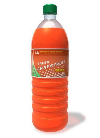 kunststof fles: Verfrissende grapefruit drinken in plastic fles