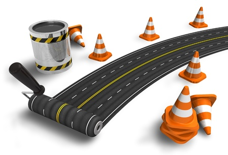 traffic cones: Painting the road with roller brush on white background