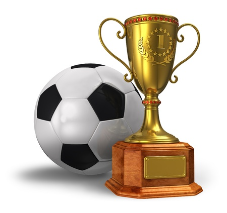 Golden trophy cup and soccer ball isolated on white background photo