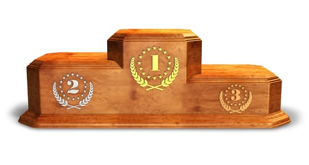 winners podium: Wooden pedestal for trophies isolated on white background