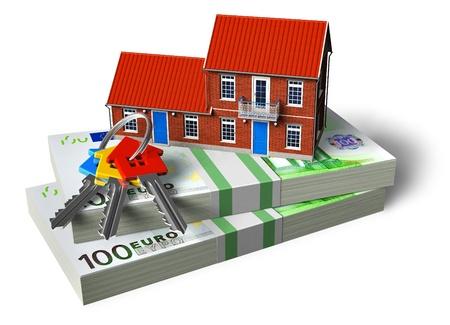 rental house: La casita de ladrillo rojo de pilas de Euro y casa claves aisladas sobre fondo blanco Foto de archivo