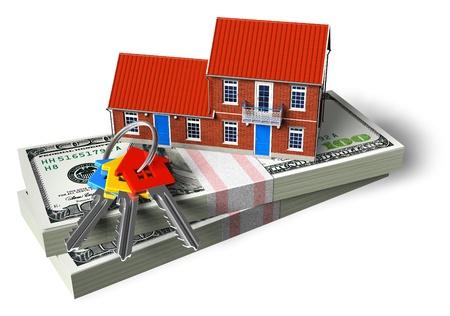 home for sale: Cottage in mattoni rossi su pile di dollari e le chiavi di casa isolate su sfondo bianco