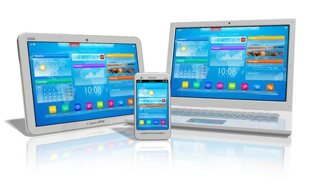 devices: White tablet PC, smartphone and laptop isolated on white reflective background