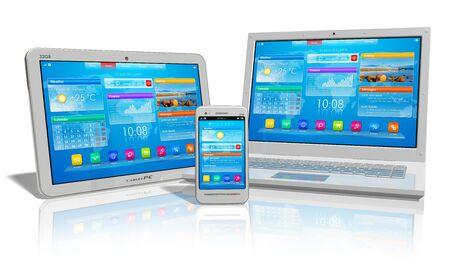 Bianco tablet PC, smartphone e computer portatile isolato su sfondo bianco riflettente