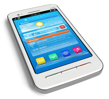 White touchscreen smartphone isolated on white background Stock Photo - 9832412