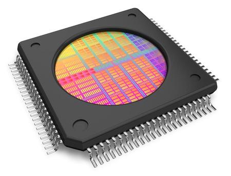silicio: Microchip con visible die aislada sobre fondo blanco