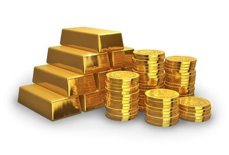 Stacks of golden ingots and coins isolated on white background photo