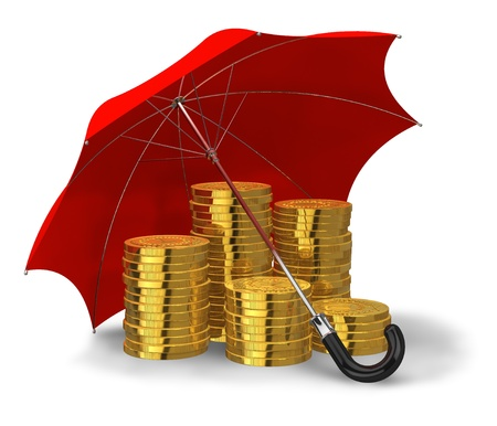 financial stability: Stacks of golden coins covered by red umbrella isolated on white background Stock Photo