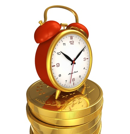 Time is money concept: alarm clock on stack of golden coins isolated on white background photo