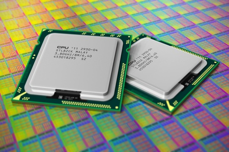 Macro view of modern CPUs on silicon plate with processor cores. Shallow DOF effect photo